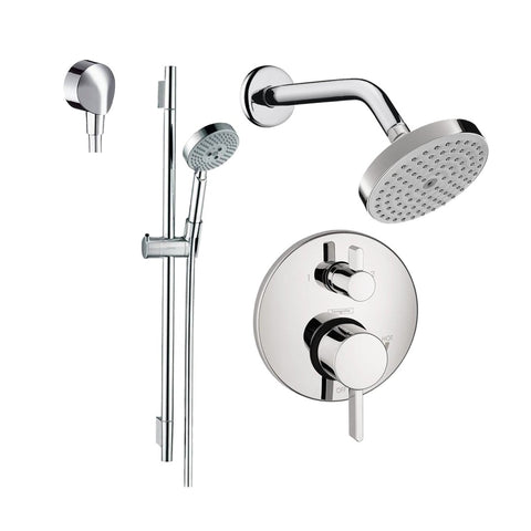 "Hansgrohe HG-T201CR S Thermostatic Shower System with Volume Control & Diverter Trim, 24"" Wall Bar, Shower Arm, Shower Head and Multi Function Hand Shower, Less Valve, Chrome - Wholesale Home Improvement Products"