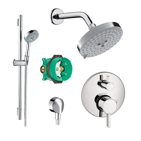 Hansgrohe KSH04447-27495-66PC Raindance Shower Faucet Kit with Handshower Wallbar PBV Trim with Diverter and Rough, Chrome - Wholesale Home Improvement Products