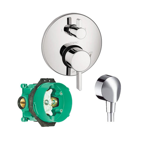 Hansgrohe Kit S Pressure Balanced Valve + FixFit Wall Outlet And Rough-In iBox Chrome - Wholesale Home Improvement Products
