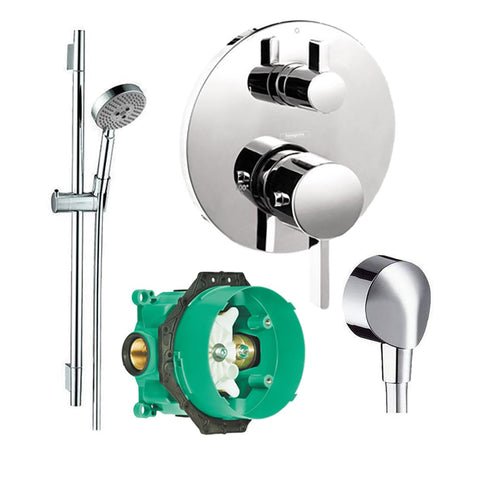 Hansgrohe Kit Unica S 24 Inch Wallbar Set +FixFit Wall Outlet with Check Valve + S Thermostatic Trim With Volume Control + iBox rough - Chrome - Wholesale Home Improvement Products