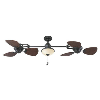 Harbor Breeze Twin breeze II 74-in Oil-Rubbed Bronze Indoor/Outdoor Ceiling Fan with Light Kit - Wholesale Home Improvement Products