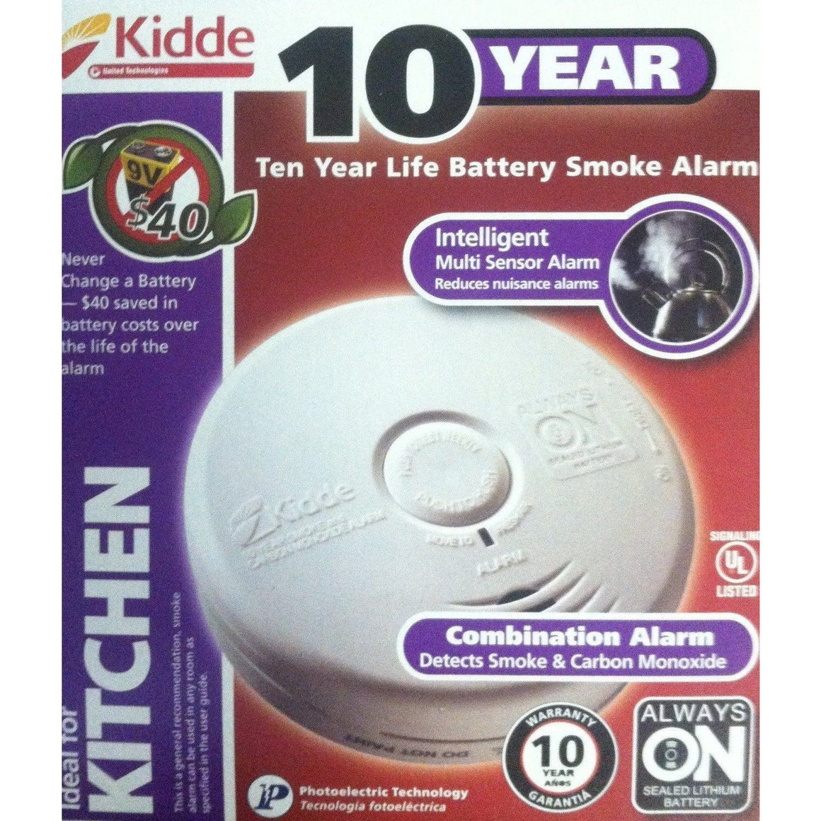 Kidde P3010K-CO Worry-Free Kitchen Photoelectric Smoke and Carbon Monoxide Alarm with 10 Year Sealed Battery - Wholesale Home Improvement Products