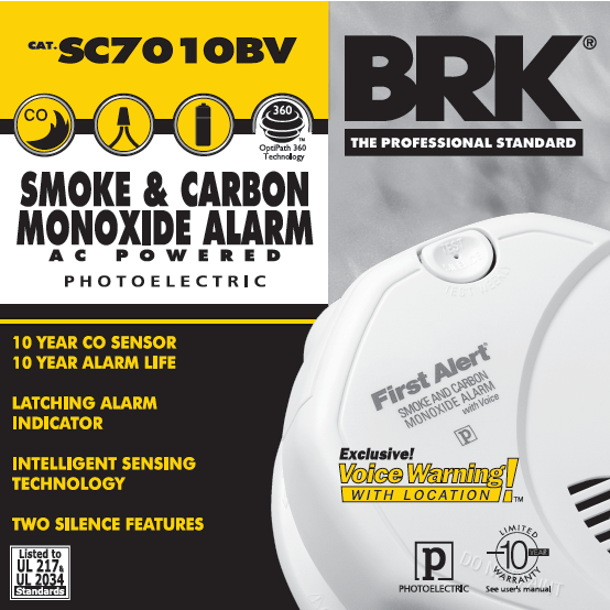 BRK First Alert SC7010BV Carbon Monoxide & Smoke Alarm, 120V Hardwired Photoelectric w/Battery Backup - Wholesale Home Improvement Products