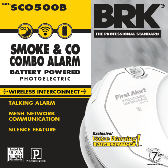 BRK First Alert SCO500B Carbon Monoxide & Smoke Alarm, Wireless Battery Powered w/Voice Warning - Wholesale Home Improvement Products