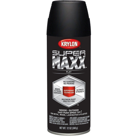 Krylon SUPERMAXX All-In-One Spray Paint, Flat Black, 12 Ounce, K08970007 - Wholesale Home Improvement Products