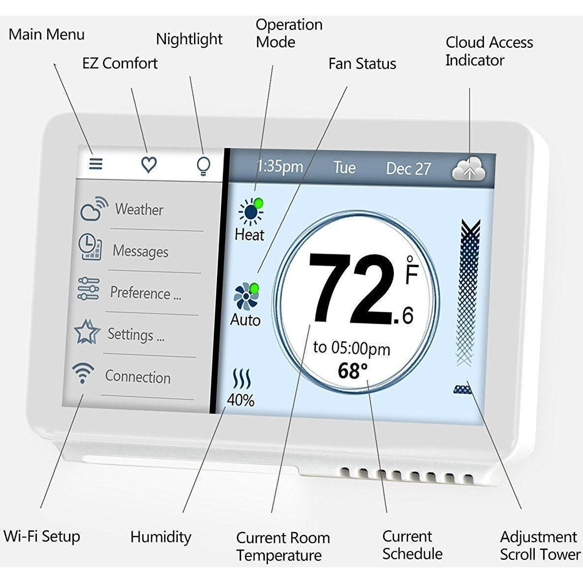 Vine - Smart Wi-Fi Thermostat TJ-919 - 7-Day Programming with Touchscreen and Backlight - Wholesale Home Improvement Products