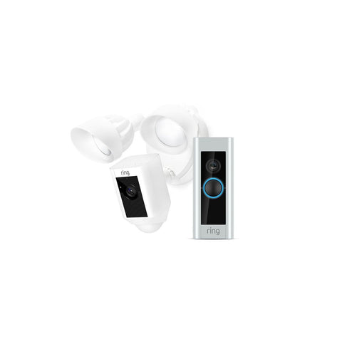 Ring Video Doorbell Pro Starter Pro Bundle Kit with Floodlight Camera