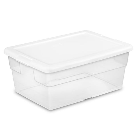 Sterilite 16 Quart/15 Liter Storage Box, White Lid with Clear Base, 12-Pack