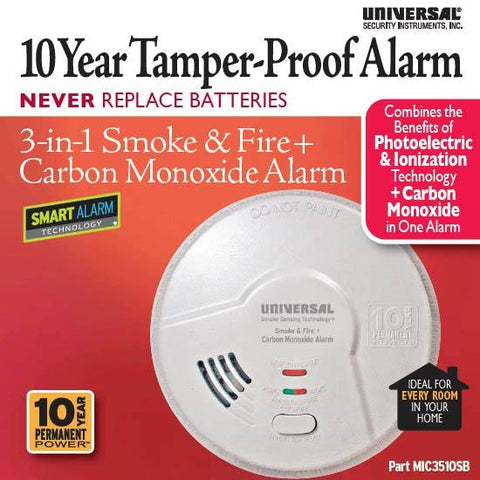 USI Electric MIC3510SB 3-in-1 Smoke, Fire and Carbon Monoxide Smart Alarm with 10 Year Sealed Battery - Wholesale Home Improvement Products