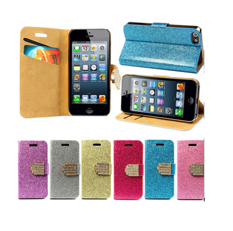 iPhone 6 Plus, 6, 5/5S, 5C -  Glittering Flip Wallet With Rhinestone Clasp Case in Assorted Colors