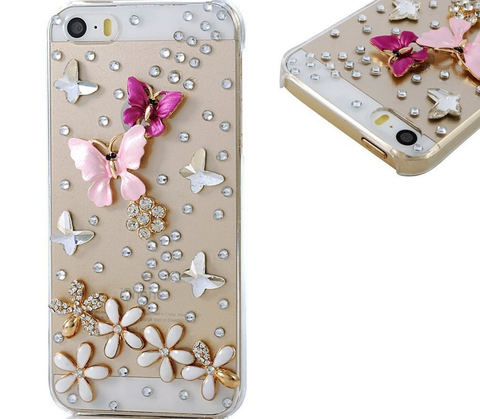 iPhone 6/6S, 6/S Plus, 5/5S, iPod Touch 6/5 - Exquisite Butterflies Over Flower Rhinestone Bling Case