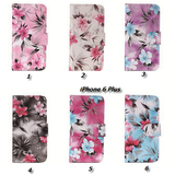 iPhone 6, 6 Plus - Delicate Floral Wallet, Magnetic Tab Case in Assorted Colors