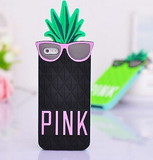 iPhone 6, 6 Plus, 5/5S - Funky 3D Pineapple with Cool Shades Soft Case in Assorted Colors