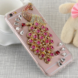 iPhone 6/6S Plus, 6/6S - Peacocks Delight Sparkling Gems Clear Case in Assorted Colors