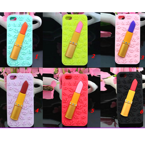 iPhone 6 Plus, 6, 5/5S - Sexy 3D Lipstick & Crowns Soft Case in Assorted Colors