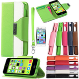 iPhone 6 Plus, 6, 5C - Chic Wallet Clutch With Card Slots Case in Assorted Colors