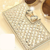 iPhone 6 Plus, 6, 5/5S - Sparkling Clear Gems With Bow Wallet Clutch Case