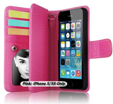 iPhone 6 Plus, 6, 5/5S - Superb, Multi-Functional Wallet Case in Assorted Colors