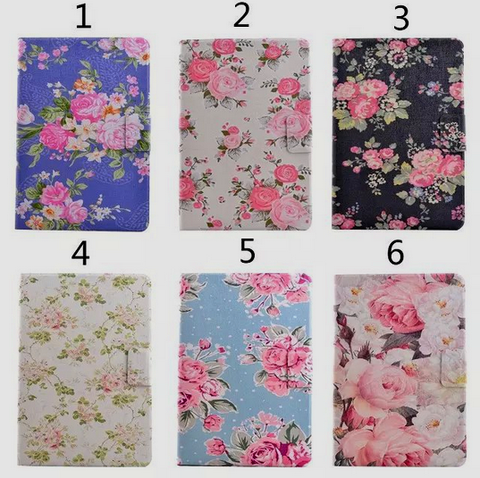 iPad Mini:ALL - Floral Print, Padded 360° Rotating Case Stand in Assorted Colors