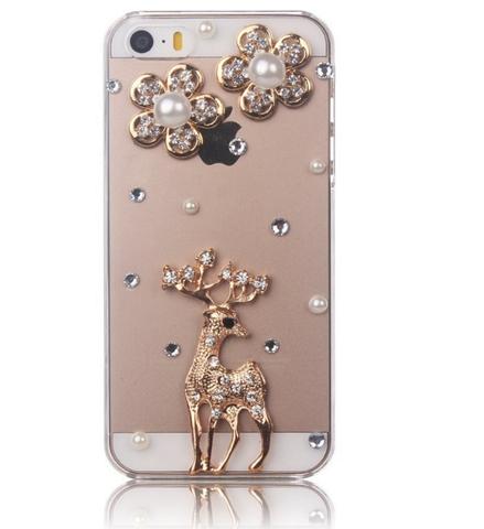 iPhone 6/6S, 5/5S - Dainty Gold, Pearl & Gem Reindeer on Clear Case