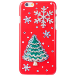 iPhone 6 Plus, 6 - Red Hot With Sparkling Christmas Tree & Snowflakes Case