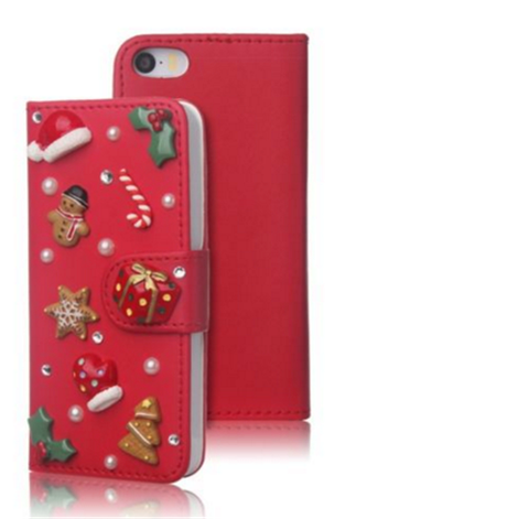 iPhone 6/6S,  SE / 5/5S - Candy Red Christmas Ornaments Wallet Cardholder Case