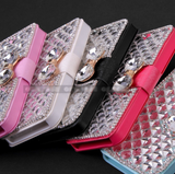 iPhone SE, 5/5S - Gem Crystals With Rhinestone Borders Wallet Case in Assorted Colors