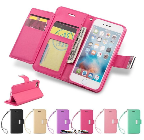 iPhone 7, 7 Plus - Sophisticated Flip Out Multi Cardholder Wallet Case in Assorted Colors