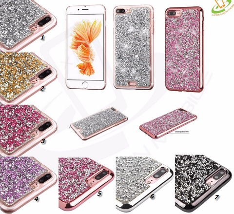 iPhone 8 Plus, 8, 7 Plus, 7- Dazzling Crystal Gem Chips Case in Assorted Colors