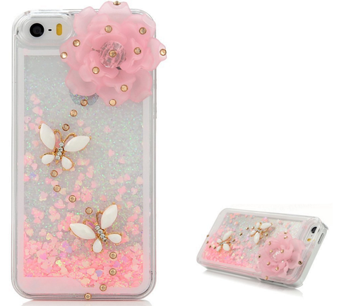 iPhone SE, 5/5S - Floating Hearts Flower & Butterfly Clear Case