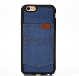 iPhone 7, 7 Plus, 6/6S, 6/6S Plus, SE/5S - Cool Duds Denim With Card Pocket Back Case
