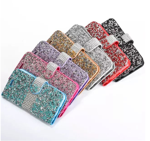 Galaxy S7, S7 Edge - Shine Baby Shine! Gem Chips Wallet Case in Assorted Colors