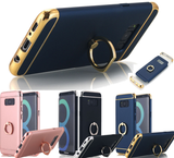 Galaxy S8, S8 Plus - Chic Matte With Gold Trim & Ring Stand Case in Assorted Colors