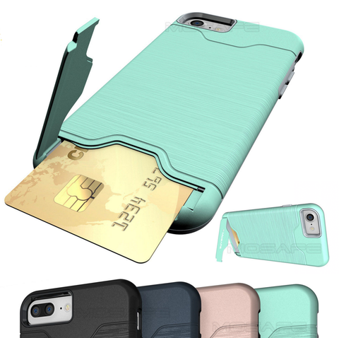 iPhone X, 8 Plus, 8, 7 Plus, 7, 6/S Plus, 6/S - Genius Kickstand Card Slot Case in Assorted Colors