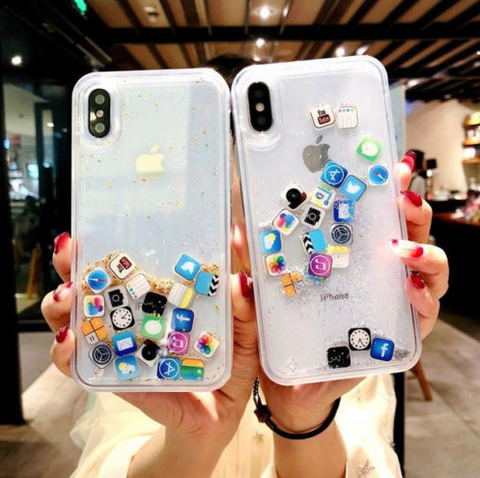 iPhone XS Max, XS, XR, X, 8 Plus/8, 7 Plus/7 - Crazy Emoji Sparkle Glitter Case in Assorted Colors