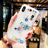 iPhone XS Max, XS/X, XR, 8 Plus/8, 7 Plus/7, 6/S Plus, 6/S - Crazy Emoji or App Glitter Case in Assorted Colors