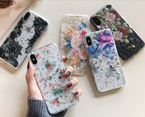iPhone XS Max, XS, XR, X, 8 Plus/8, 7 Plus/7, 6/S Plus/6S - Vintage Gold Foil Floral Case in Assorted Colors