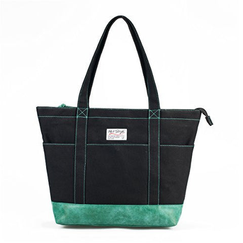 Roomy Canvas Shoulder Tote Bag with Built-in Laptop Sleeve in Assorted Colors