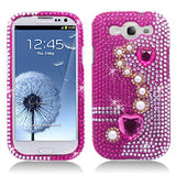 Galaxy S3 - Glorious Pink Heart & Pearls Gem Case