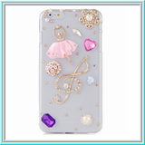 iPhone 6 Plus, 6, 5/5S, 4/4S - Dainty Ballerina With Gems in Assorted Colors