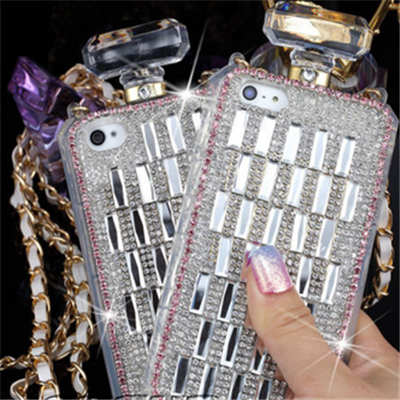 iPhone 6 Plus, 6, 5/5S - Sizzling Rhinestone Perfume Bottle Case in Black or Silver