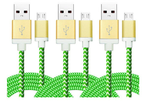 Micro USB Charging Cables - 3-Pack, 6-Ft., Braided in Assorted Colors