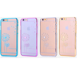 iPhone 6/6S Plus, 6/6S, SE, 5/5S - Delicate Etching & Rhinestones on Color Frame Clear Case in Assorted Colors