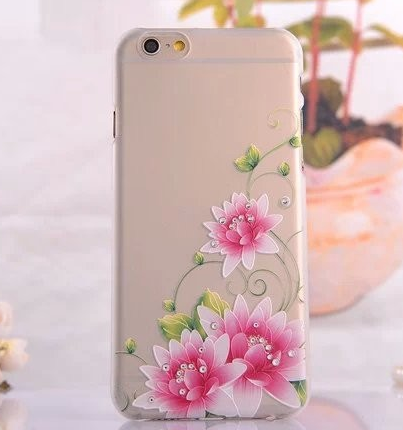 iPhone 6 - Dainty, Frosted, Rhinestone Artistic Stencil Case in Assorted Designs