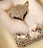 iPhone 6 Plus, 6, 5/5S -  Chic 3D Gems & Fur Bling Fox Head Wallet OR Clear Case in Grey or White