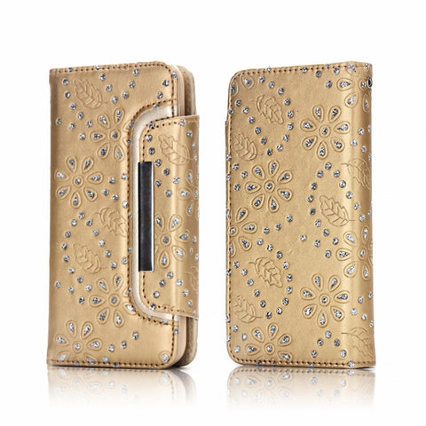 iPhone X, 8 Plus, 8, 7 Plus, 7, 6/S, 6/S Plus - Bling Snowdrop Studded Detachable Wallet Case in Assorted Colors