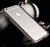 iPhone 6 Plus, 6, 5/5S - Shiny Hot Aluminum Rhinestone Bling Frame in Assorted Colors