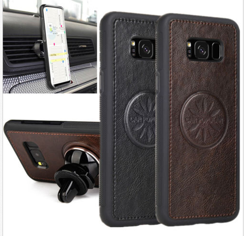 Galaxy S8, S8 Plus - Beautiful Embossed Leather Case with Car Holder in 2 Colors
