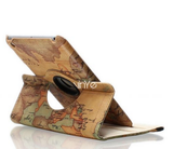 iPad Mini All, iPad Air 1, 2 - Vintage Map 360° Stand Case in Assorted Colors