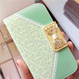 iPhone 6 Plus, 6, 5/5S, 5C - Lace Look Wallet Style Bling Tab Case in Assorted Colors